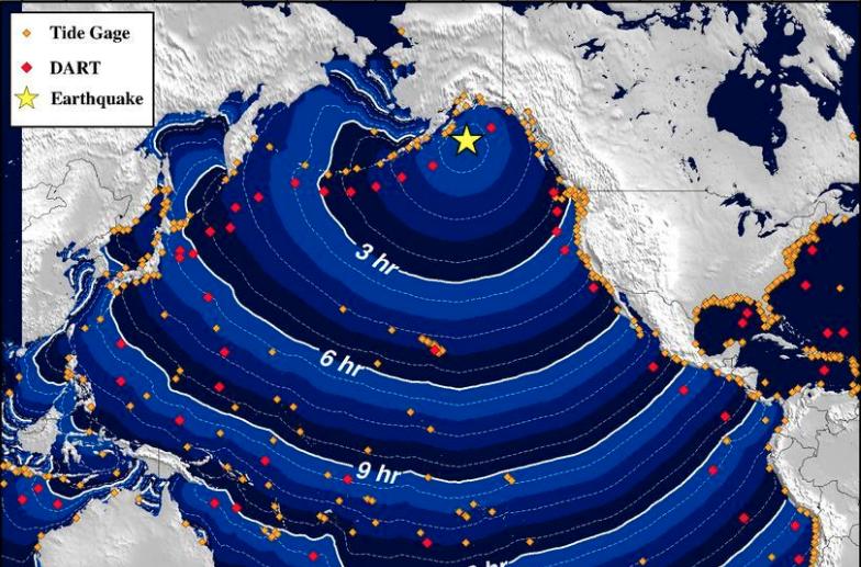 VENTEt TSUNAMI: Slik ville en eventuell tsunami fra det voldsomme jordskjelvet å spre seg sørover i Stillehavet.