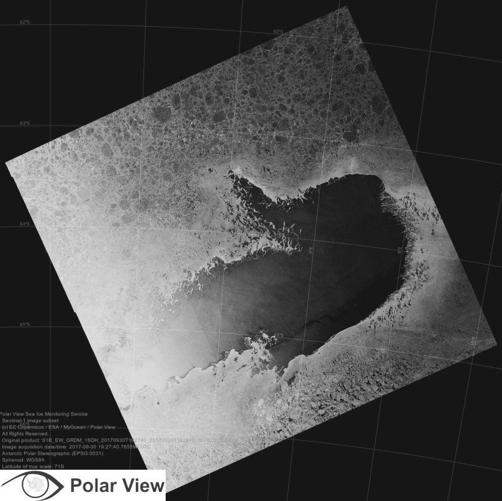 GIGANTISK: Copernicus Sentinel-1-bildet er levert av Polarview. ESA og Eumetsat OSI-SAF er ansvarlige for å levere rutinemessige polarprodukter i sanntid som er egnet for å studere hav-is-atmosfære-interaksjonsprosessene av polynyaen i Weddellhavet.