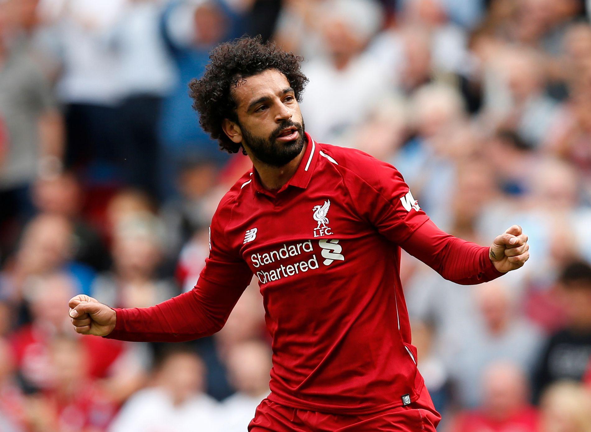 STJERNESPILLER: Mohamed Salah feirer her hans scoring mot West Ham i serieåpningen.