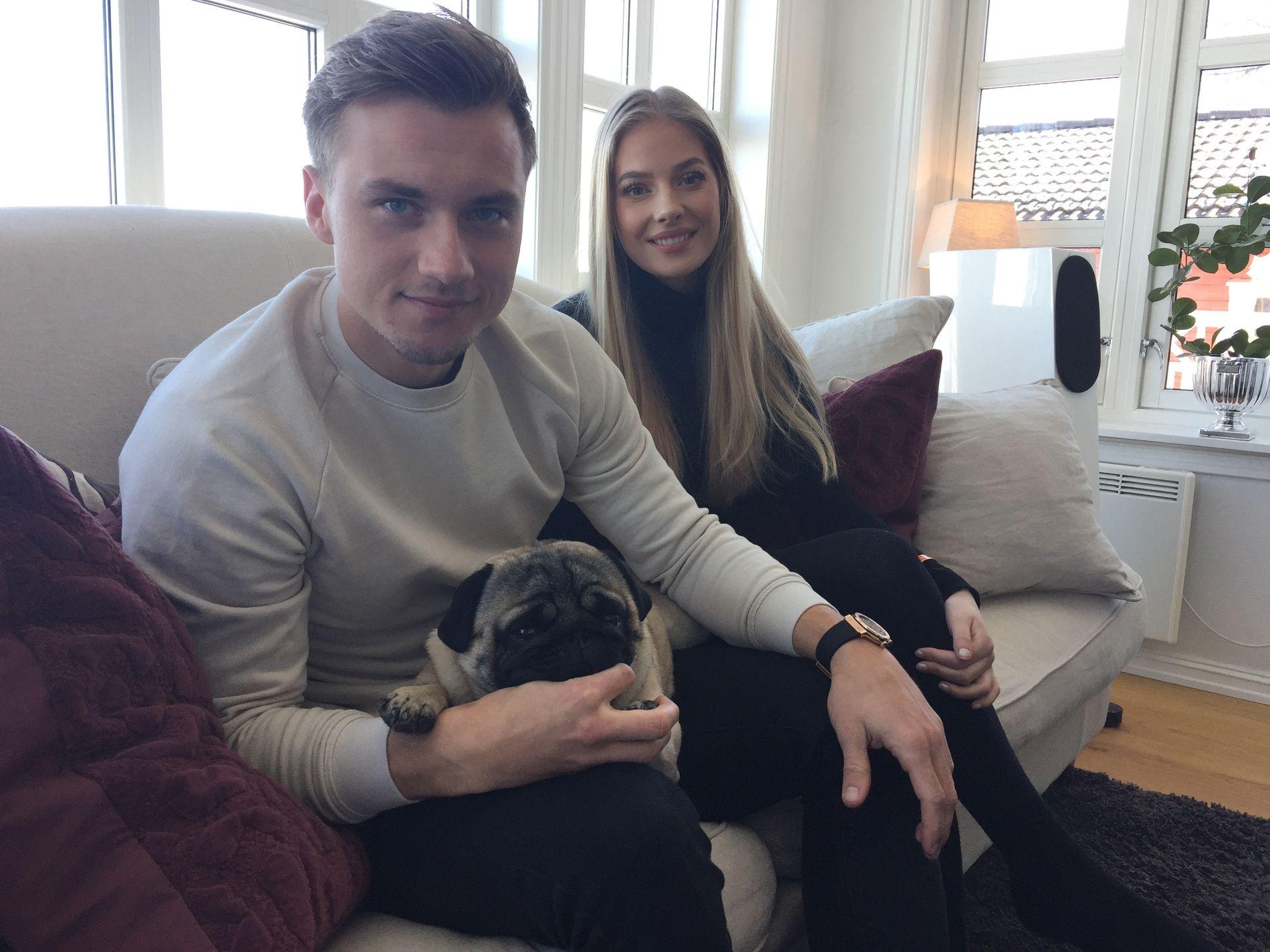 ...MEN HUGO MÅ BLI HJEMME: Hunden Hugo (1 år) får ikke være med når Fredrik Gulbrandsen og kjæresten Malene Pedersen fredag flytter til USA. Lillestrøm-gutten gleder seg stort til å spille for New York Red Bulls.