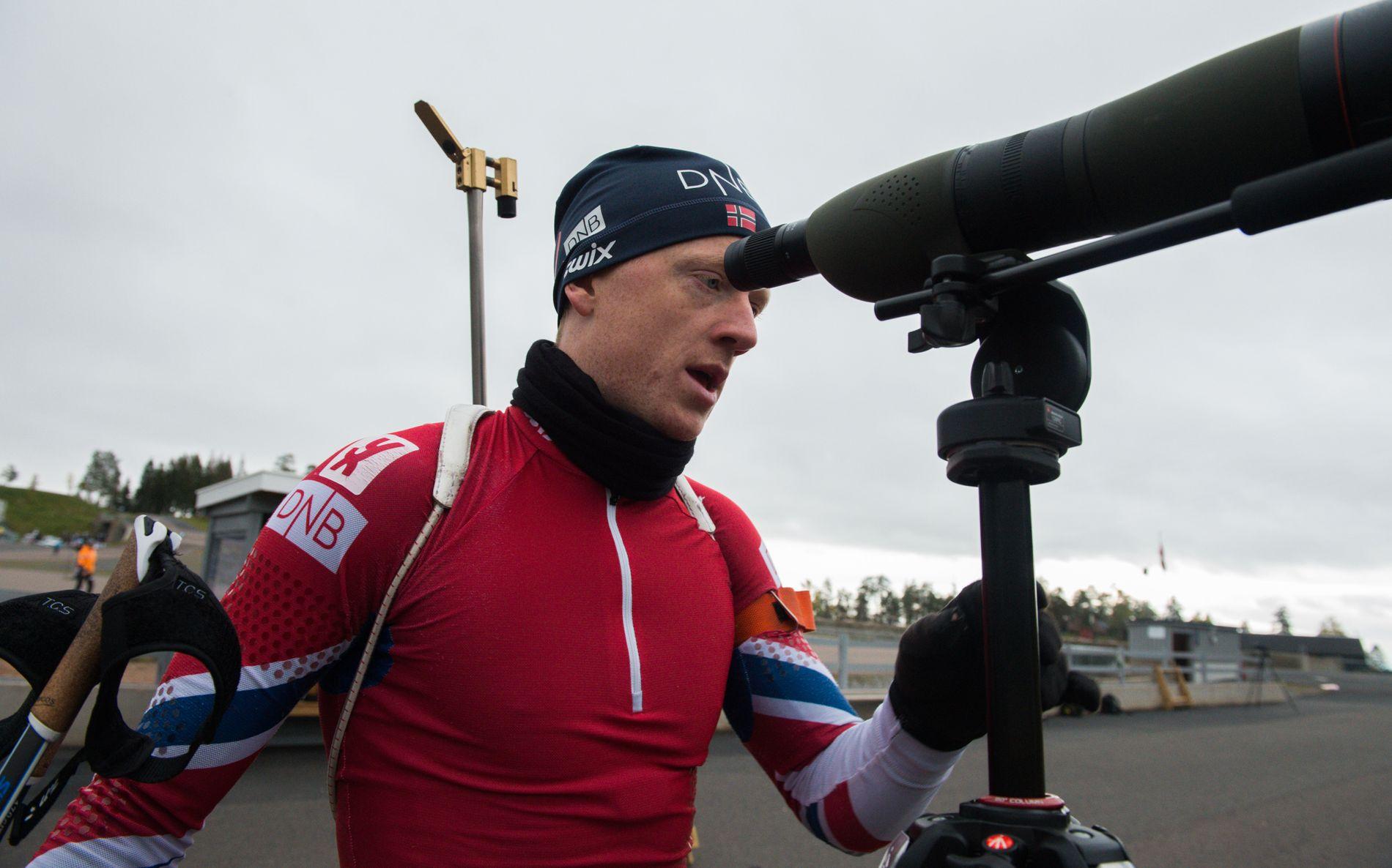 UTE MED SKADE: Johannes Thingnes Bø fotografert under en treningsøkt i Holmenkollen tidligere denne måneden.