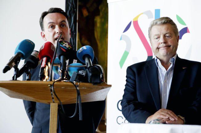 JOBBER FOR OL: Byårdsleder og leder i søkerkomiteen, Stian Berger Røsland, og idrettspresident Børre Rognlien deltok på pressekonferansen i Oslo torsdag. Der ble et mulig kutt på flere milliarder kroner lagt frem.