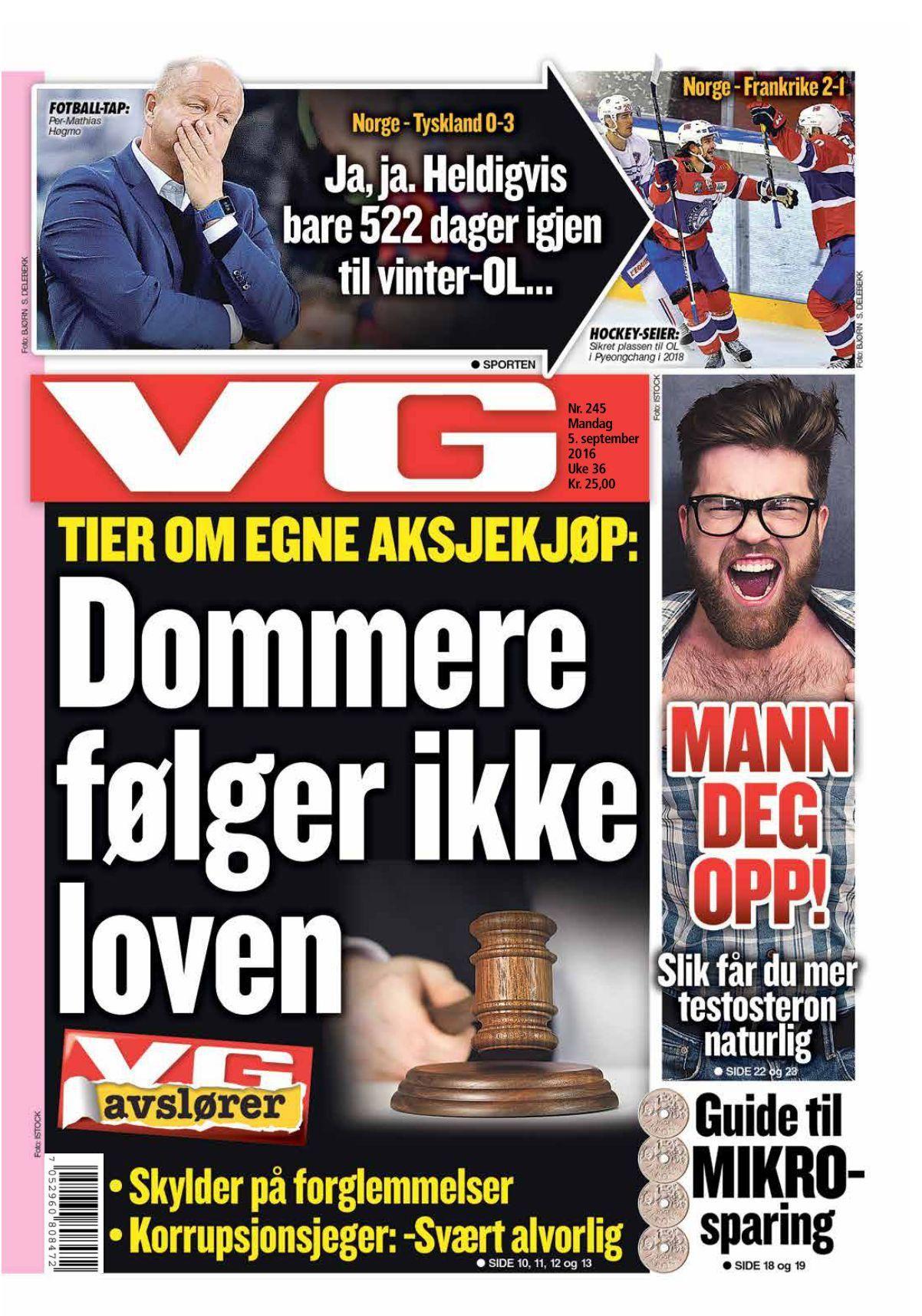 Faksimile av VGs forside mandag.