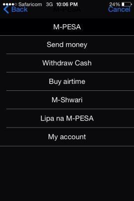 Slik ser M-Pesa-menyen ut på Gikandis iPhone.