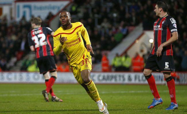 HEI SVEIS! Raheem Sterling jubler for kampens første mål da Liverpool slo Bournemouth i ligacupens kvartfinale.