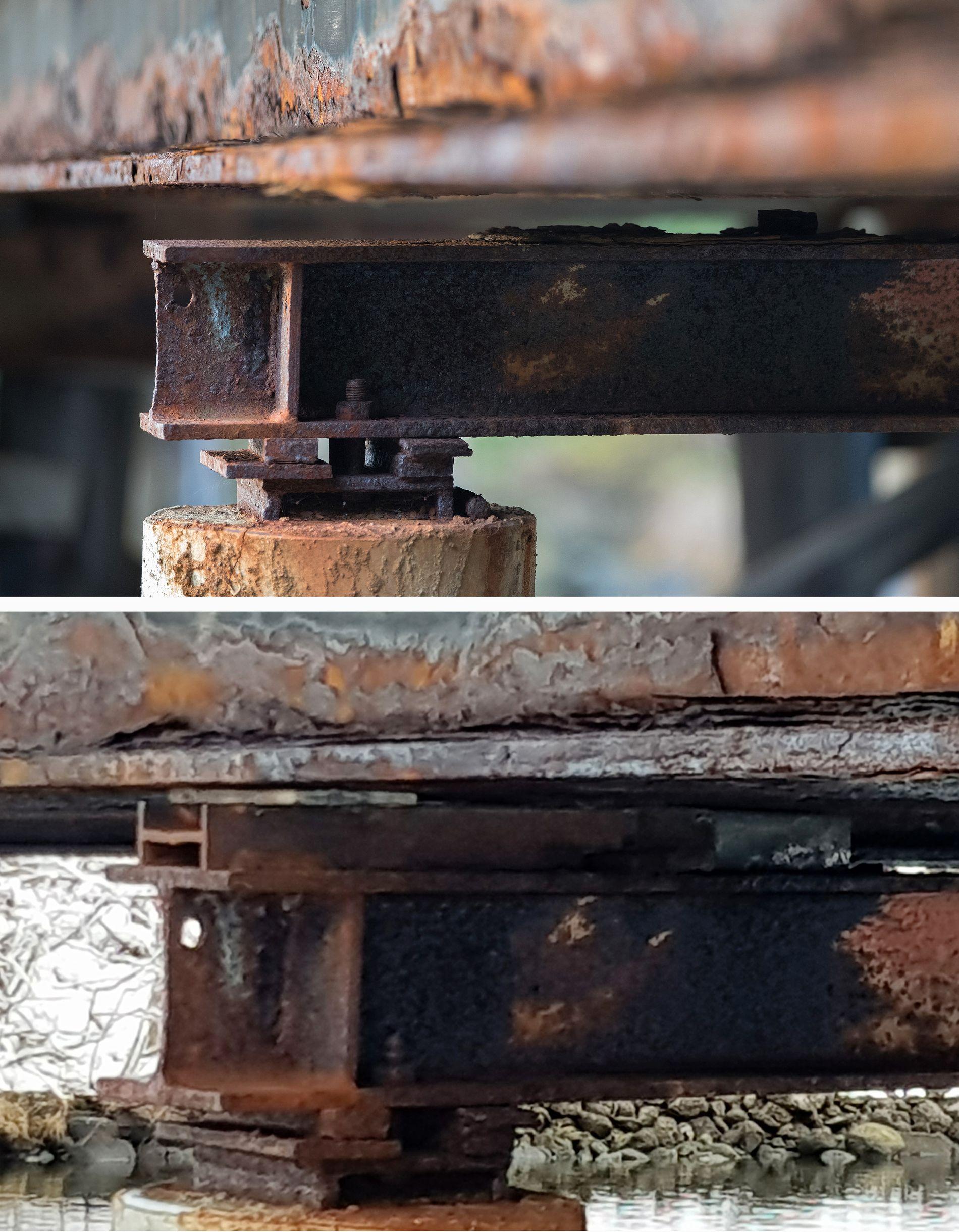 STØTTET OPP: På Matredalen bro i Hordaland har Vegvesenet tettet igjen mellomrommet mellom søyle og bærebjelke. Foto: HALLGEIR VÅGENES (øverst) og ARNOLD MATRE (nederst).