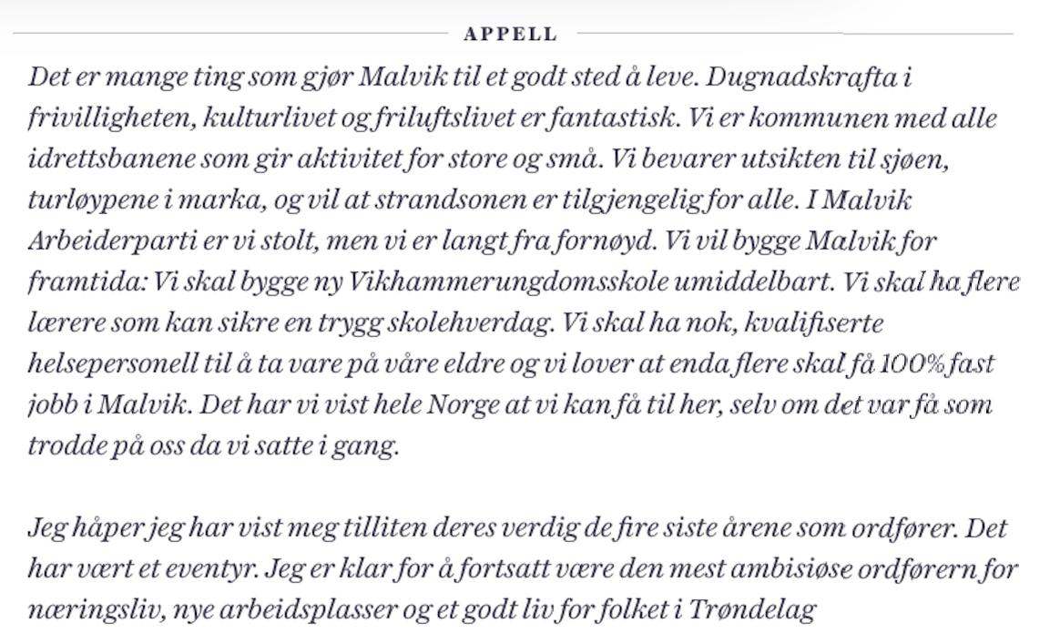 VILLE FORTSETTE: Ingrid Aune ønsket seg fire nye år som ordfører i Malvik. Arbeiderpartiet har lovet å fortsette valgkampen i hennes ånd.