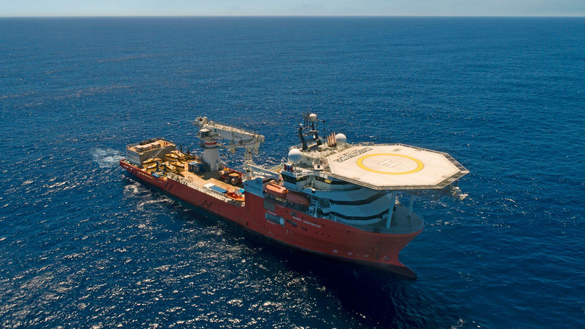 SØKER MINERALER: Oljedirektoratet har kartlagt havbunnen i Norskehavet for havbunnsmineraler med skipet «Seabed Constructor» og tre undervannsfartøy. Nå skal resultatene gjennomgås. Regjeringen ønsker å finne ut om utvinning av slike mineraler kan bli til kommersiell virksomhet.
