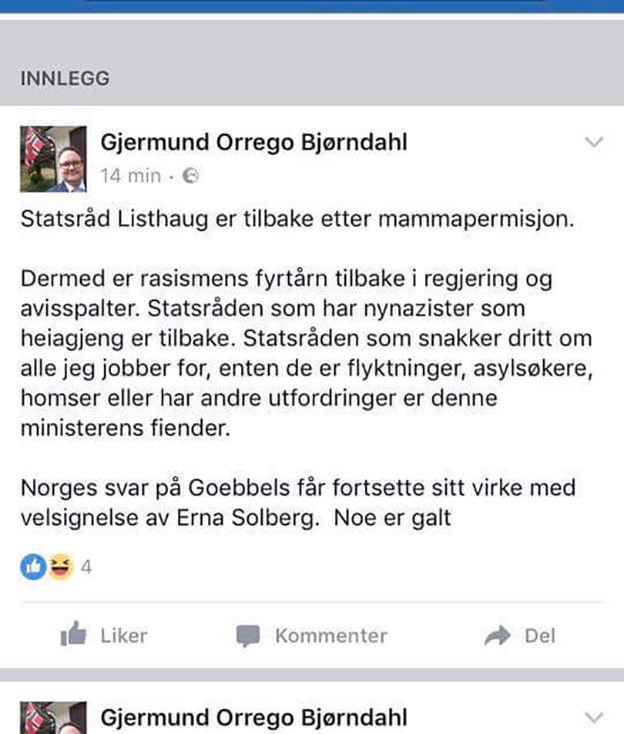 FACEBOOK-INNLEGGET: Dette innlegget på Facebook la Ap-politikeren ut sist mandag da det var kjent at Listhaug var tilbake på jobb som statsråd.