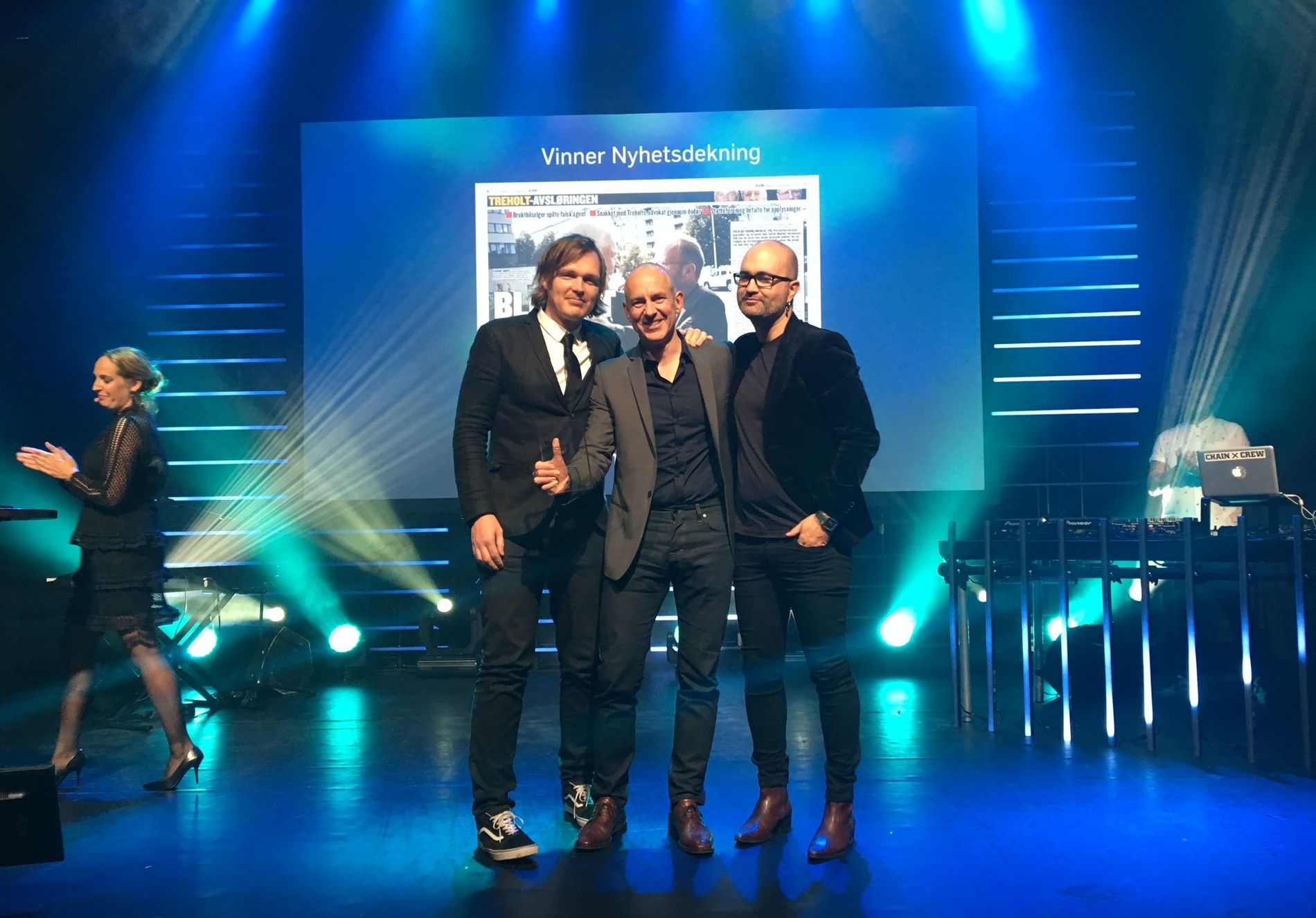 VINNERE: VGs journalister Bjørnar Tommelstad, Rolf Widerøe og Gordon Andersen vant Årets nyhetsdekning for Treholt-avsløringene.