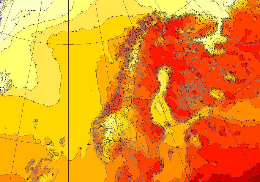 RØDT BETYR VARME: Slik ser situasjonen ut kommende fredag – med temperaturer i Nord-Norge opp mot eller over 20 plussgrader.
