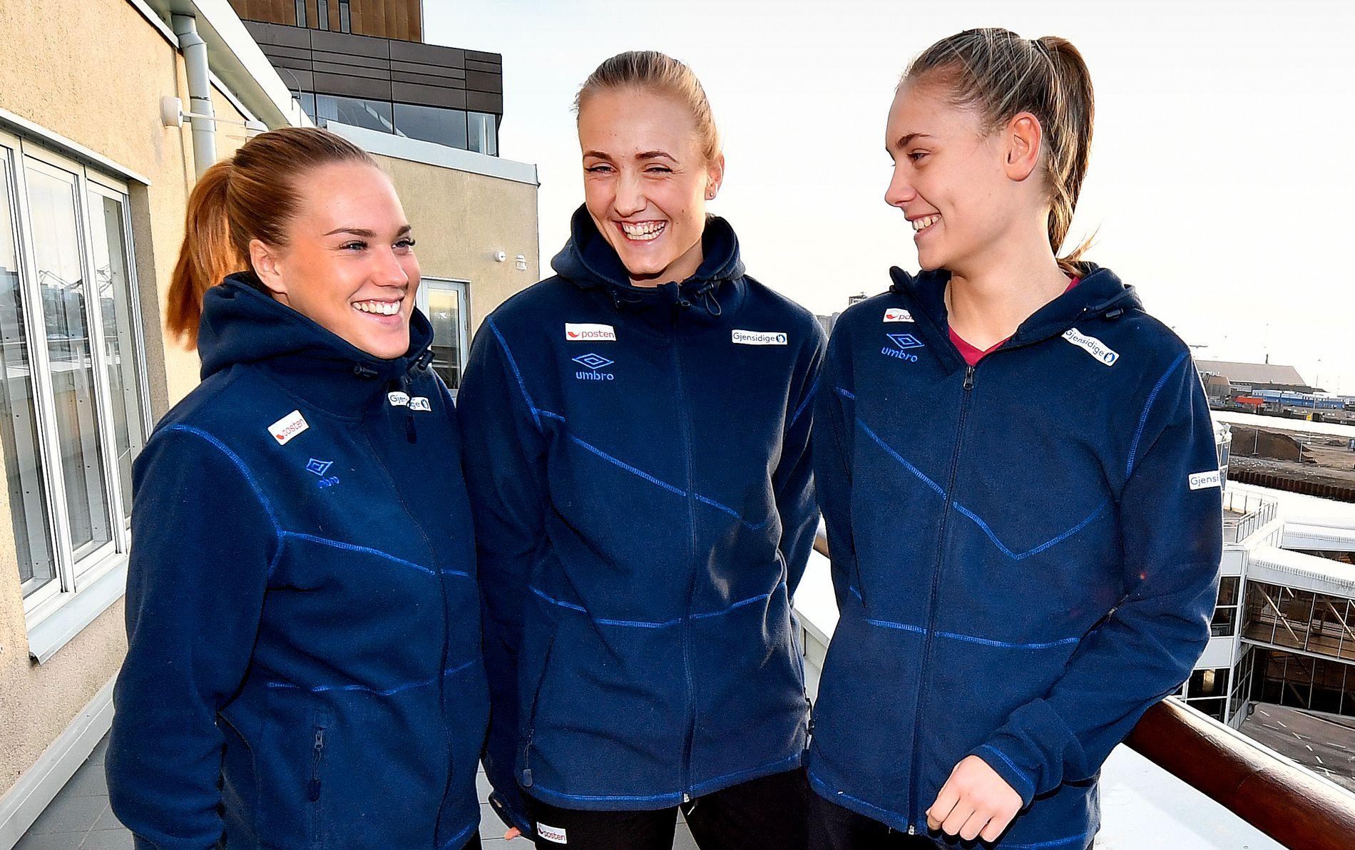HVEM ER DETTE: Klarer du å navngi disse tre spillerne? Dette er håndballjentenes tre nye fjes. Fra venstre: Malin Aune, Silje Waade og Kjerstin Boge Solås.