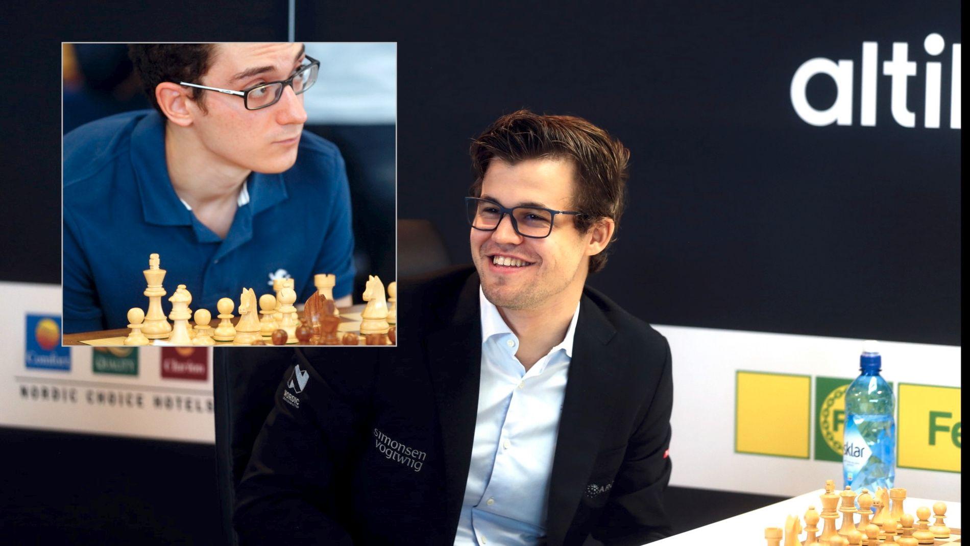 ANGREPSSJAKK? Det kan bli et bra oppgjør mellom Fabiano Caruana (innfelt) og Magnus Carlsen i onsdagens runde i Norway Chess.