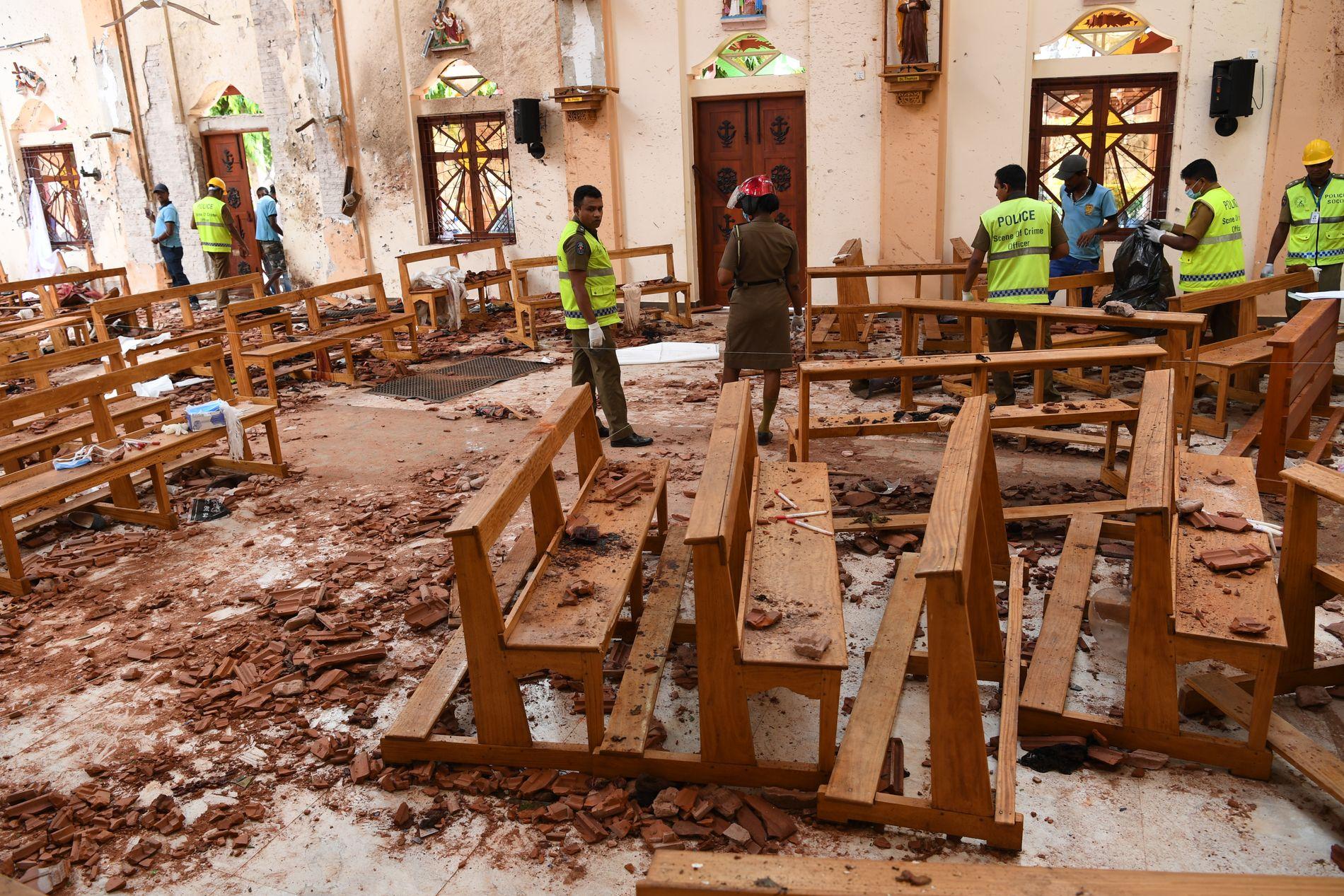 BRUTALT: St. Sebastian-kirken ble hardest rammet under søndagens angrep.