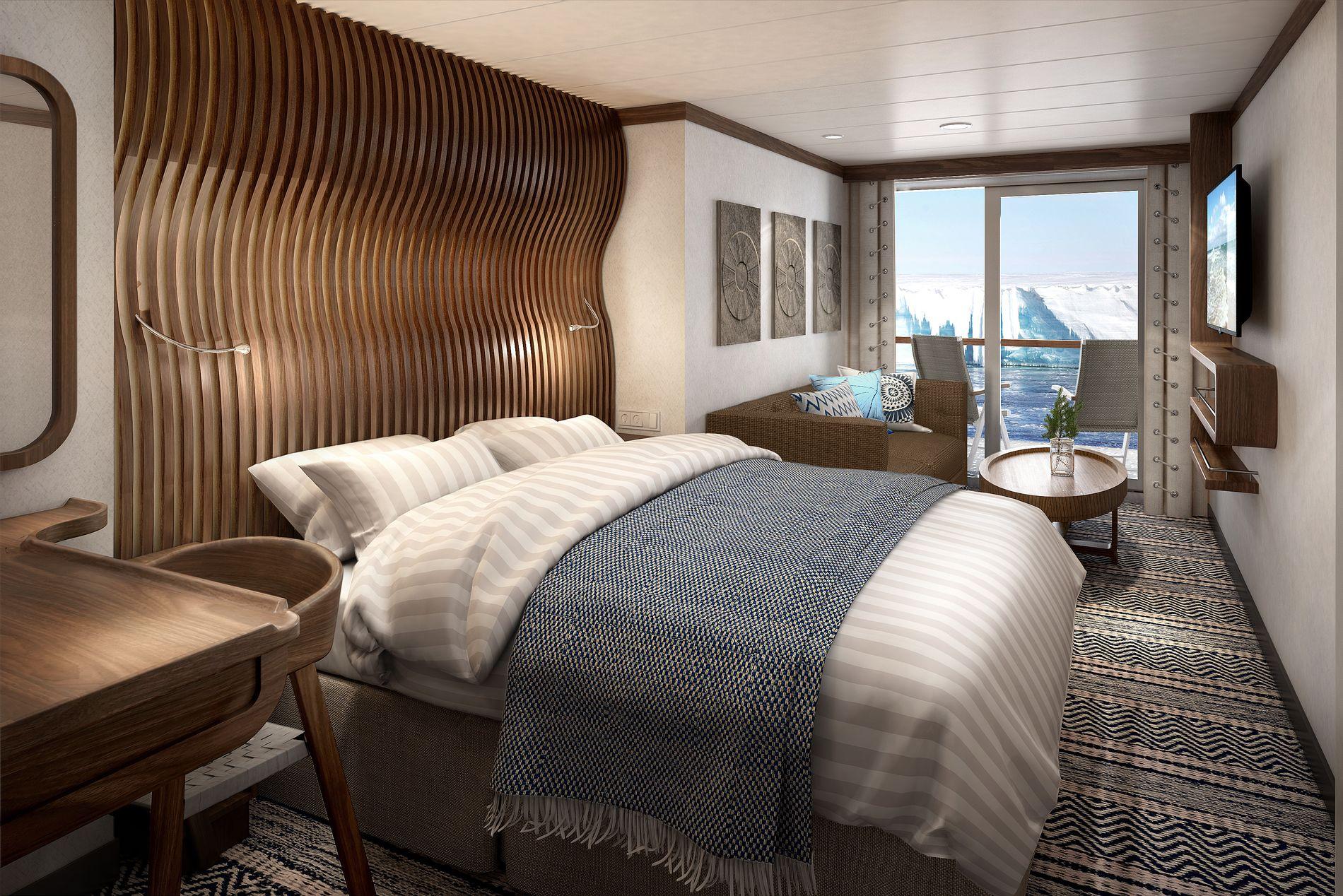 INTERIØRBILDE: Slik blir en av lugarene på de nye Hurtigrute-skipene.