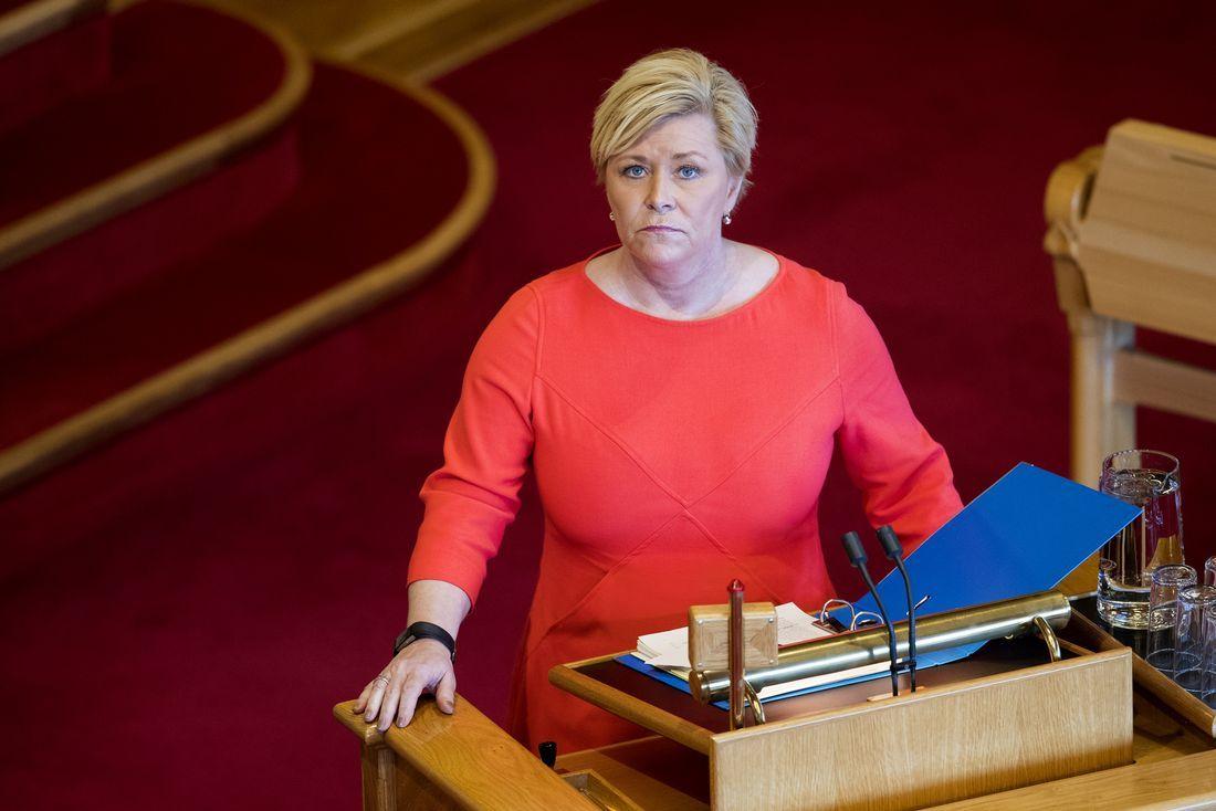 TIL NY HØRING : Finansminister Siv Jensen under Stortingets spørretime onsdag.