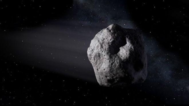 IKKE EN TRUSSEL: Det er ikke ventet at asteroiden vil komme så nært jorden at den vil utgjøre en trussel. Bildet er ikke av den aktuelle asteroiden, men en annen som var 710,000 kilometer nær jorden da den ble fotografert i fjor, ifølge romfartsorganisasjonen.