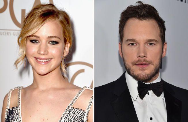 I SAMTALER: Hollywood-skuespillerne Jennifer Lawrence og Chris Pratt er mulige navn som kan dukke opp i «Passengers».