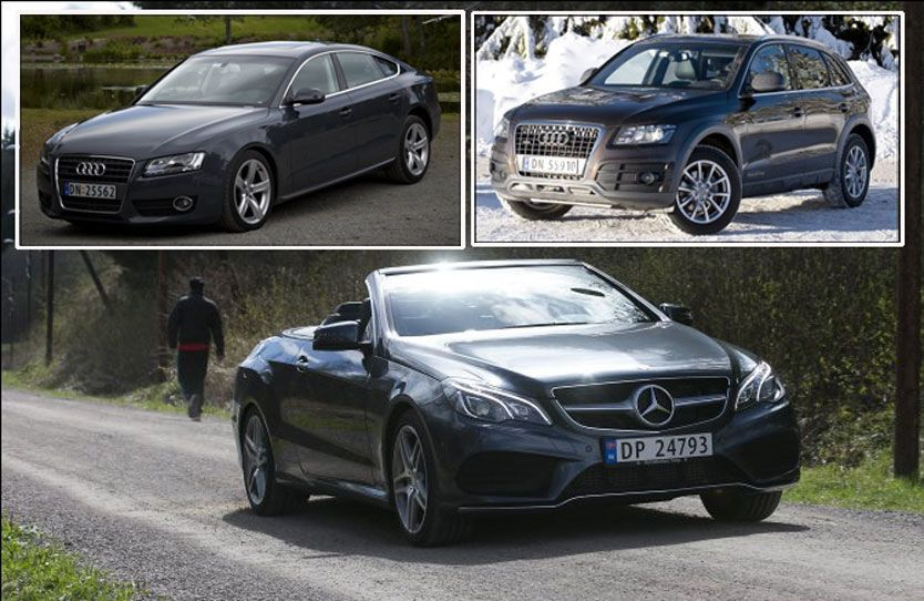 BEST BRUKT: Både Mercedes E-klasse, Audi Q5 og Audi A5 gjør det meget bra i den gigantiske bruktbilrapporten. Foto: Jan Petter Lynau, Line Møller og Espen Sjølingstad Hoen