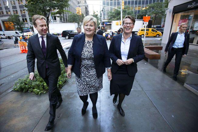 I NEW YORK: Utenriksminister Børge Brende, statsminister Erna Solberg og klima- og miljøminister Tine Sundtoft er til stede under FNs generalforsamling i New York denne uken.