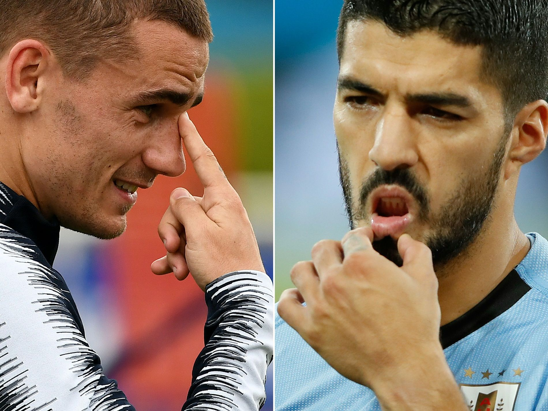 RIVALER: Antoine Griezmann (t.v.) og Luis Suárez er til daglig rivaler i Atlético Madrid og Barcelona. Fredag møtes de i VM for Frankrike og Uruguay.