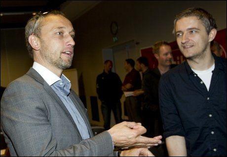 PROFILER: Lars Bohinen og Aleksander Schau var med på lanseringen til TV 2 fredag. Foto: Scanpix