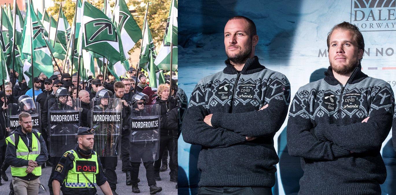Bildet til venstre er fra demonstrasjonen til Nordiska motståndsrörelsen i Göteborg i slutten av september. Til høyree er Aksel Lund Svindal og Kjetil Jansrud under presentasjonen av representasjonsplagg.