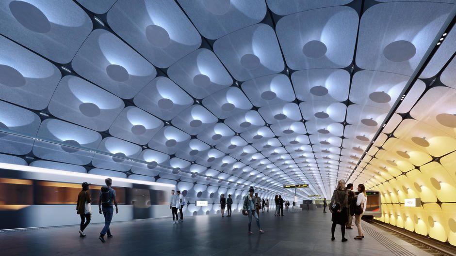 STASJON: Fornebuporten stasjon er en av de åtte stasjonene som er tegnet for den nye Fornebubanen. Denne stasjonen skal ligge under bakkenivå der det er et kjøpesenter i dag. Stasjonen er tegnet av Zaha Hadid arkitekter og A-lab