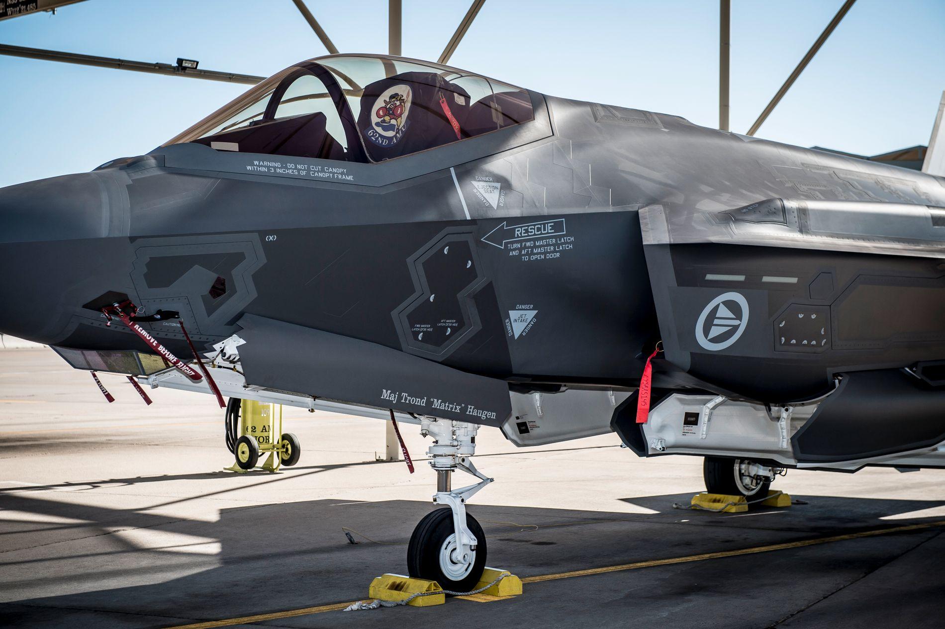 F-35 kampfly på Luke Air Force Base i Arizona i USA. Foto: Mads Claus Rasmussen / NTB scanpix