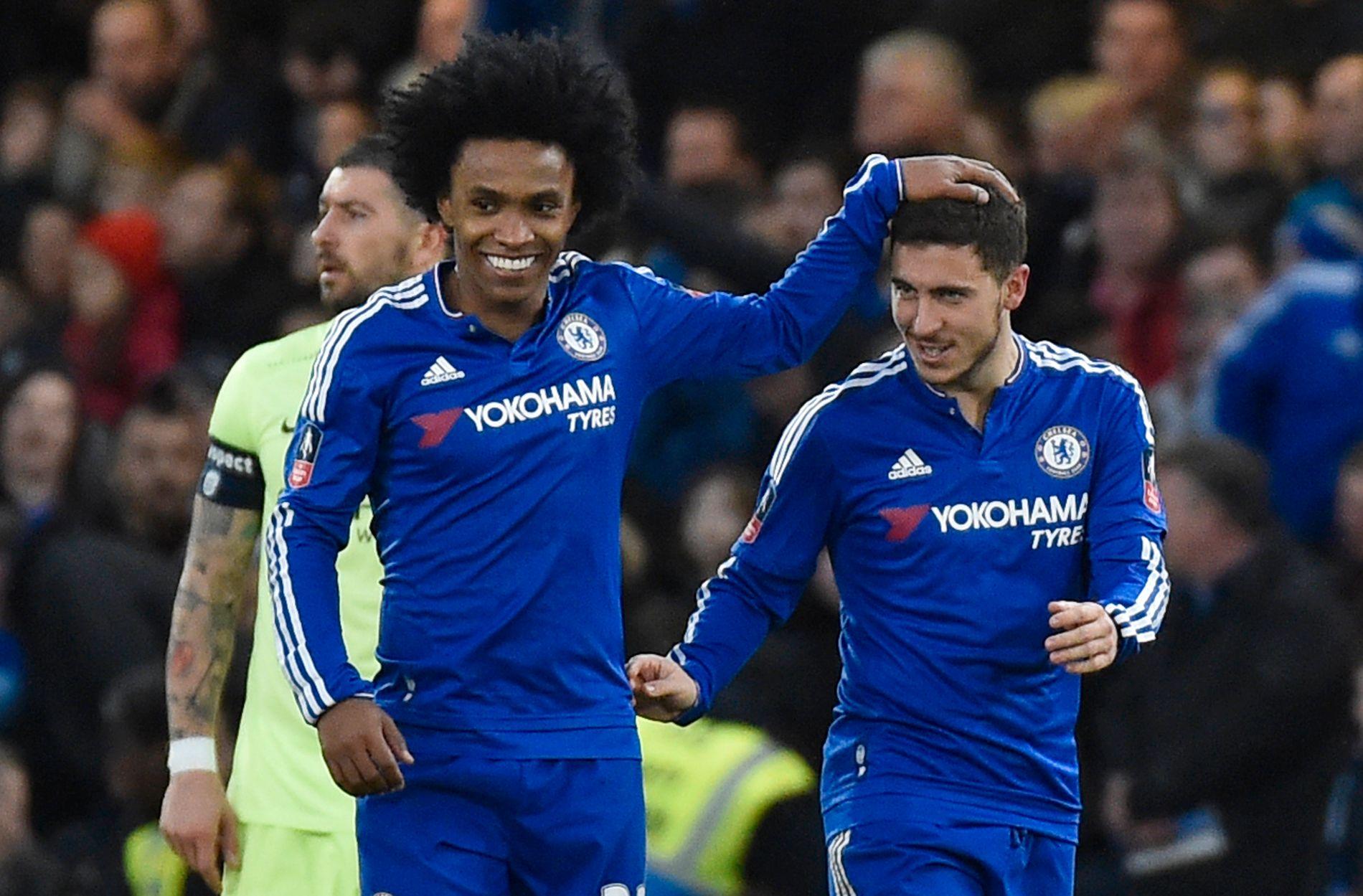 PÅ VEI BORT? Chelsea-fansen kan ha sett det siste av både Willian og Eden Hazard i de blå trøyene.
