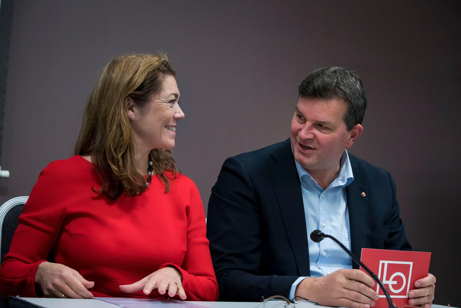 PENSJONSDRAKAMP: NHO-leder Kristin Skogen Lund og LO-nestleder Hans-Christian Gabrielsen har evaluert APF-ordningen i privat sektor.