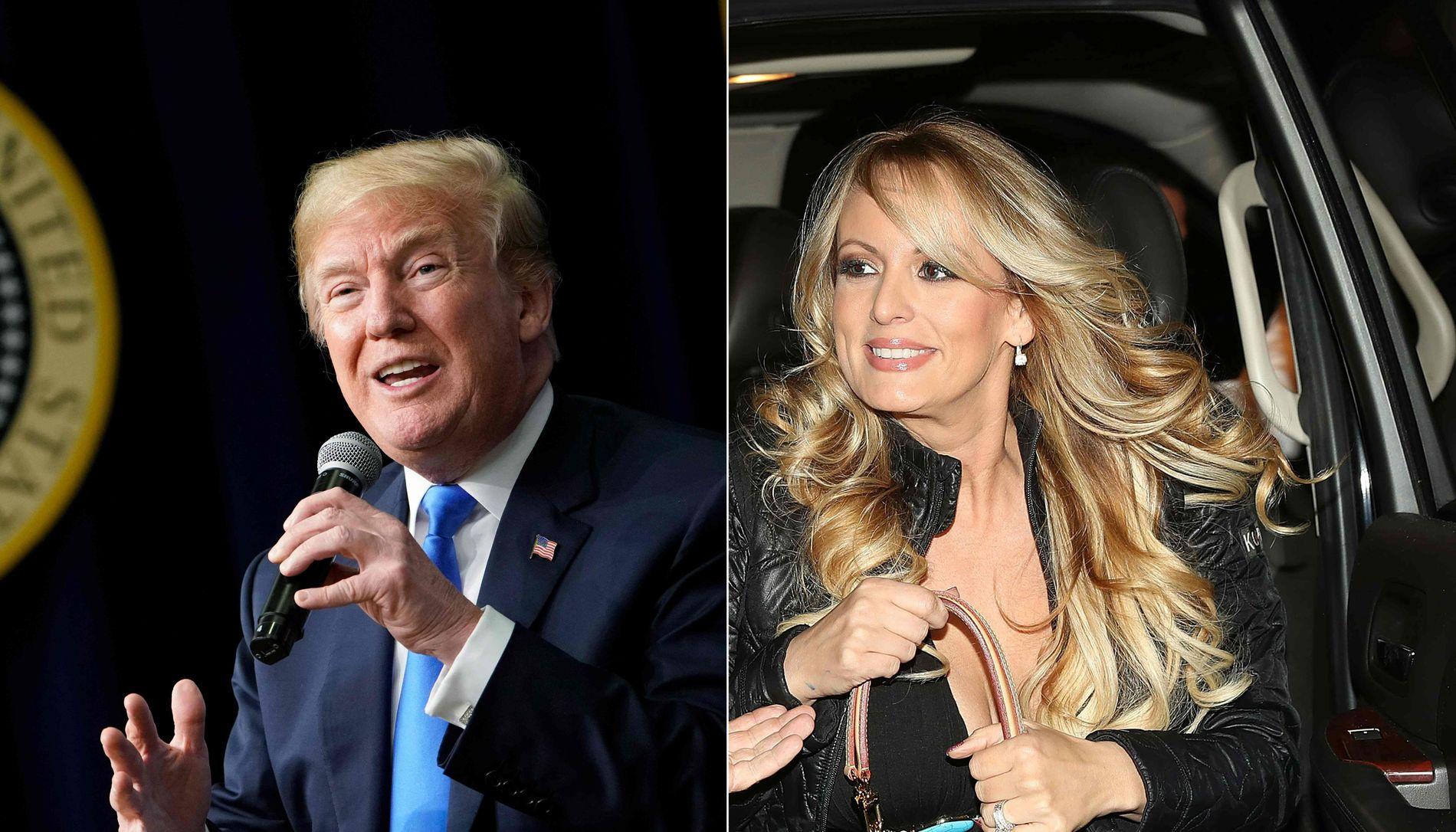 FORHOLD? De har ulike versjoner om de faktisk hadde et seksuelt forhold, men nå ser det ut til at de er enige i at han, Donald Trump, betalte henne, Stormy Daniels, penger for hennes taushet.