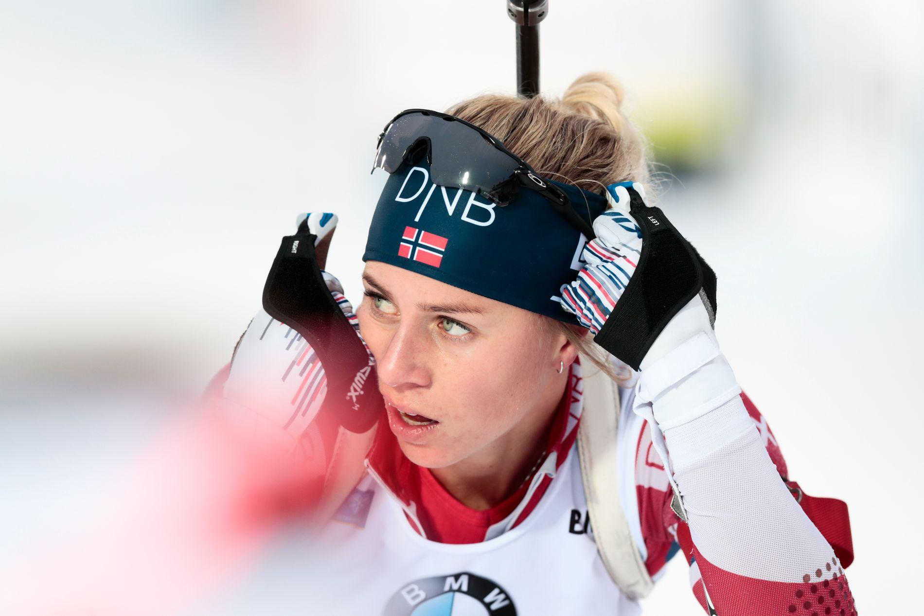 LANGT BAK: Fredag endte Tiril Eckhoff på 78.-plass i Hochfilzen. Her fra jaktstarten i Östersund, der hun ble nummer 41.