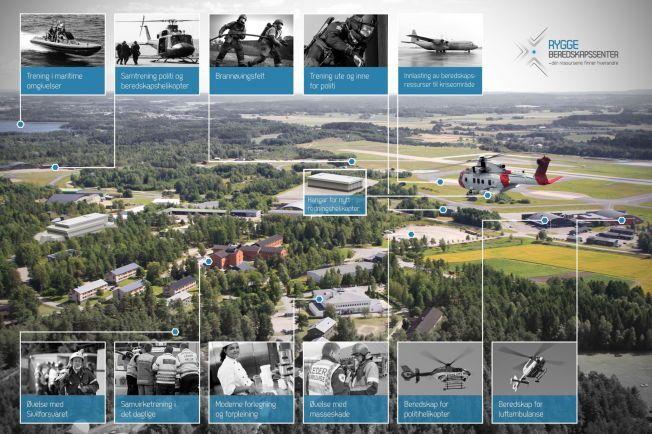 FREMTIDEN: Politihøgskolen starer terror-trening på Rygge. I fremtiden kan det bli et regionalt beredskaps- og treningssenter for alle nødetatene.Fotomontasje: Rygge Beredskapssenter