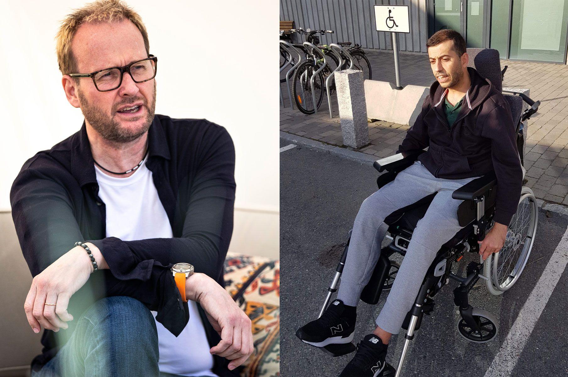 KRASJET: Sigvart Dagsland (t.v.) og Ahmad Yousef Mohammad. Førstnevnte her avbildet i møte med VG i vår. Mohammad er avhengig av rullestolen, her utenfor sykehuset i Trondheim.