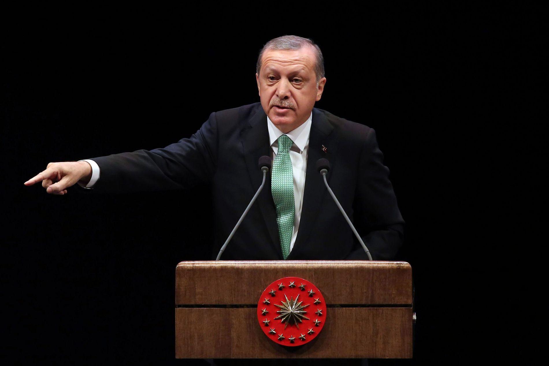 STÅR PÅ SITT: Tyrkias president Recep Tayyip Erdogan slår tilbake mot kritikken, og sier han ikke bryr seg om hva han kalles i Vesten, så lenge hans egne støtter ham. Her fra en tale i forrige uke.