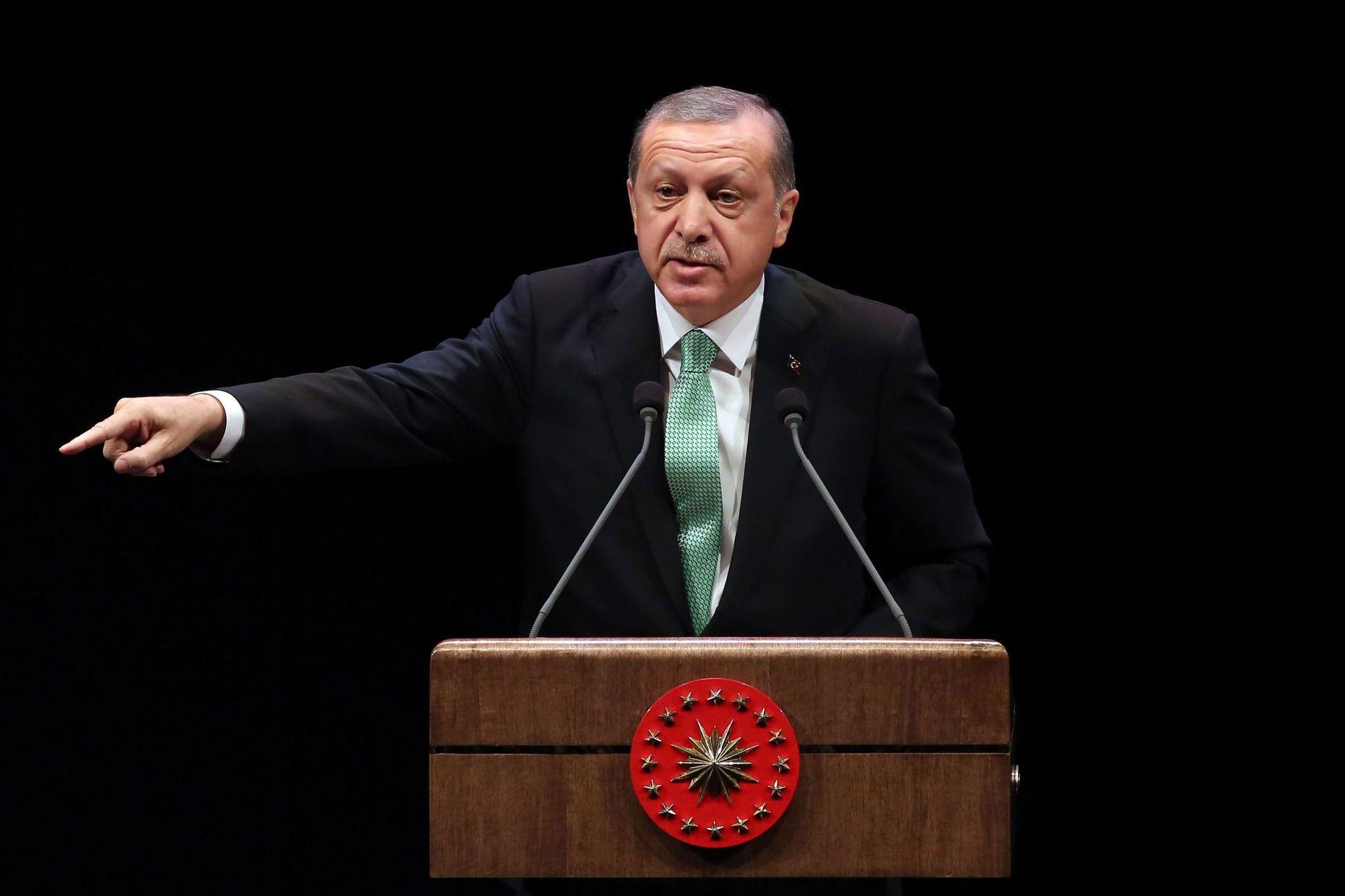 FÅR ALL MAKT: President Recep Tayyip Erdogan får formelt den utøvende makten i Tyrkia dersom grunnlovsendringen vedtas.