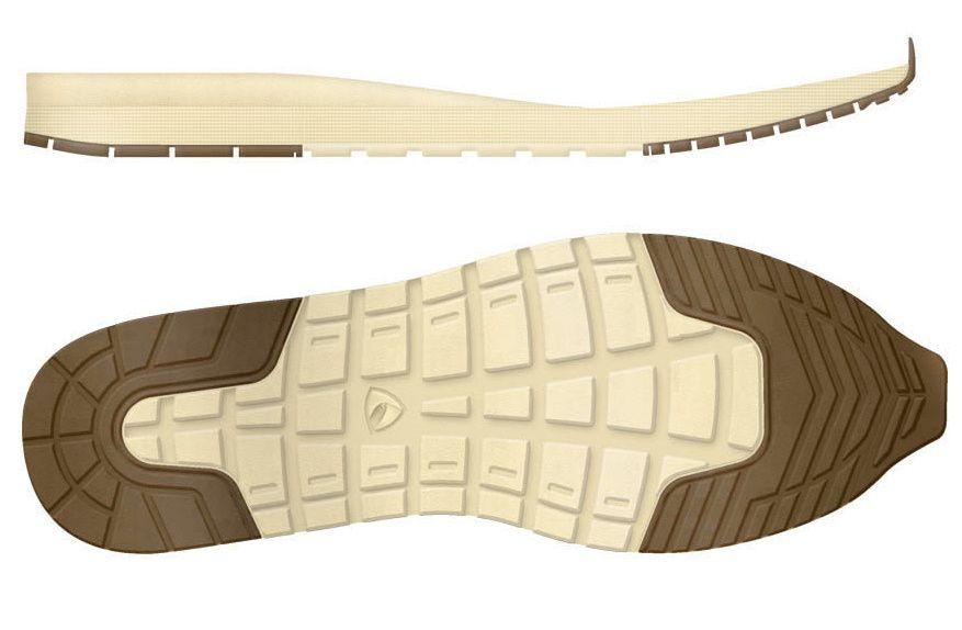 SÅLE: Politiet presiserte at to sko av typen Sprox, har det samme sålemønsteret, og at sålen er i ulike farger.