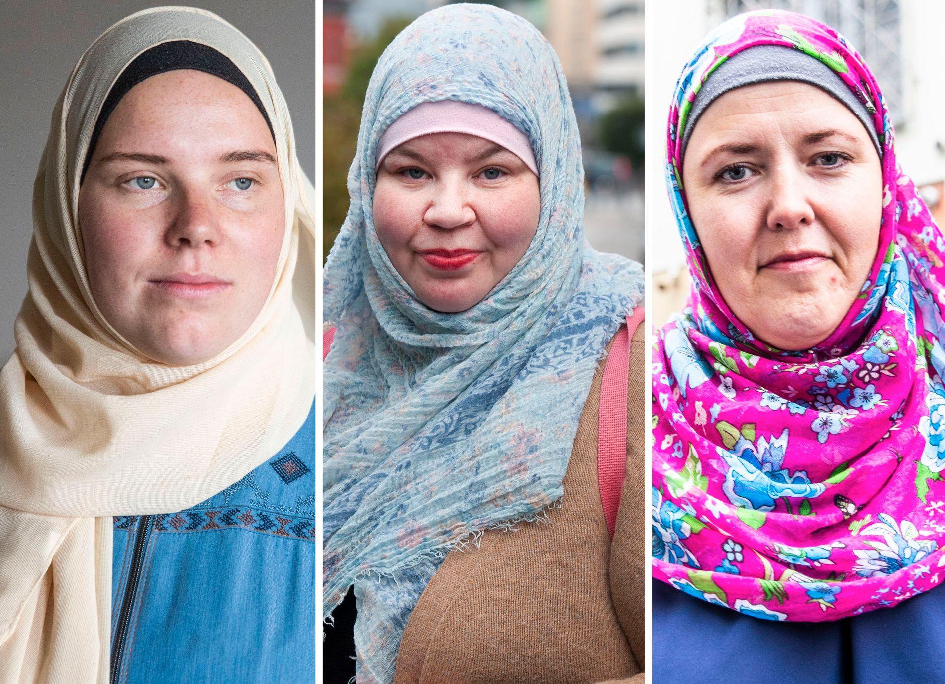 HAR KONVERTERT: Norske Silje-Aaliya Nilsen fra Lier (f.v.), Sølva Nabila Saxelin fra Bergen og Monica Salmouk fra Moss forteller om hvorfor de bestemte seg for å bli muslimer.