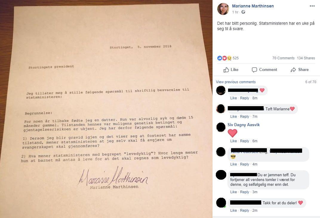 FACEBOOK-INNLEGG: Marthinsen har lagt ut sitt skriftlige spørsmål på sin egen Facebook-siden.