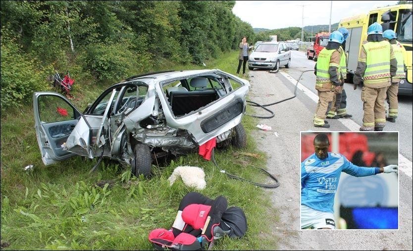 KRASJ: Denne Renault-en fikk hard medfart lørdag, etter at en fyllekjører kjørte på den. Det var Edier Frejd (innfelt fra en kamp før i år) som førte bilen. Foto: Ronny Hjertås / Scanpix (innfelt).