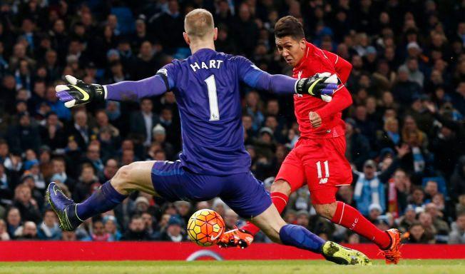 MÅLFEST: Roberto Firmino og Liverpool utklasset Joe Hart og Manchester City sist gang de to lagene møttes.