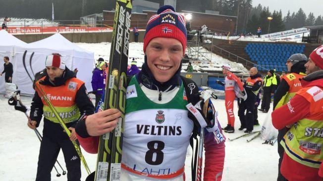 OVERRASKELSESMANNEN: Martin Løwstrøm Nyenget var godt fornøyd med løpet han gjorde i finske Lahti søndag.