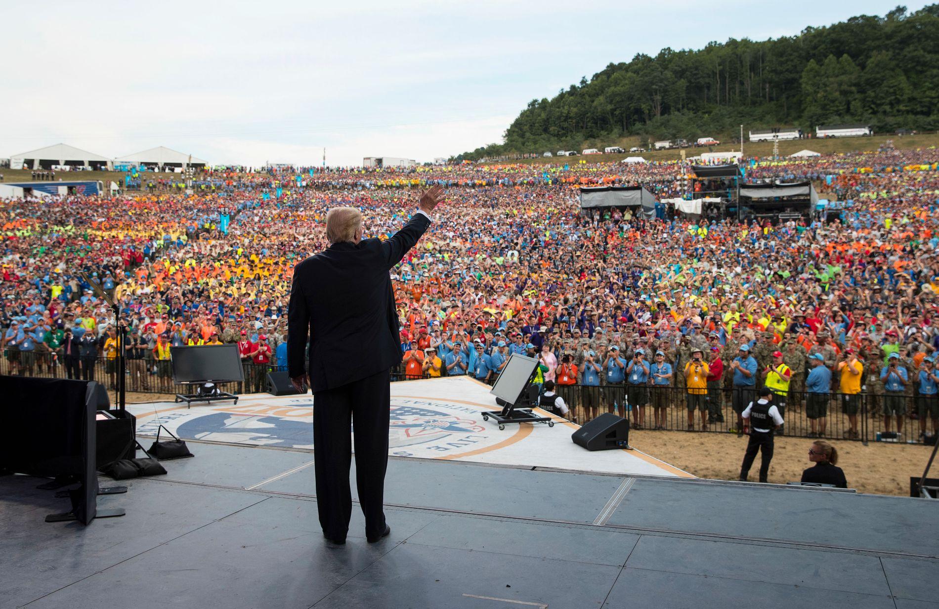 HOLDT TALE: Det er ingen tvil rundt det faktum at Donald Trump mandag i forrige uke holdt tale foran tusenvis av speidere i Vest-Virginia.