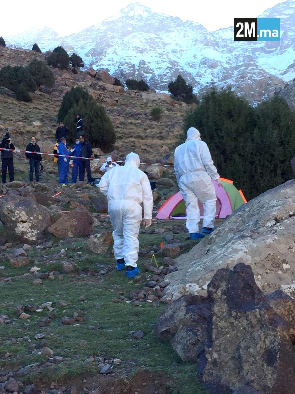 DREPT: Dette skal være åstedet hvor de to skandinaviske studievenninnene ble drept mandag i fjellene i Marokko. Etterforskere har sperret av området for undersøkelser.