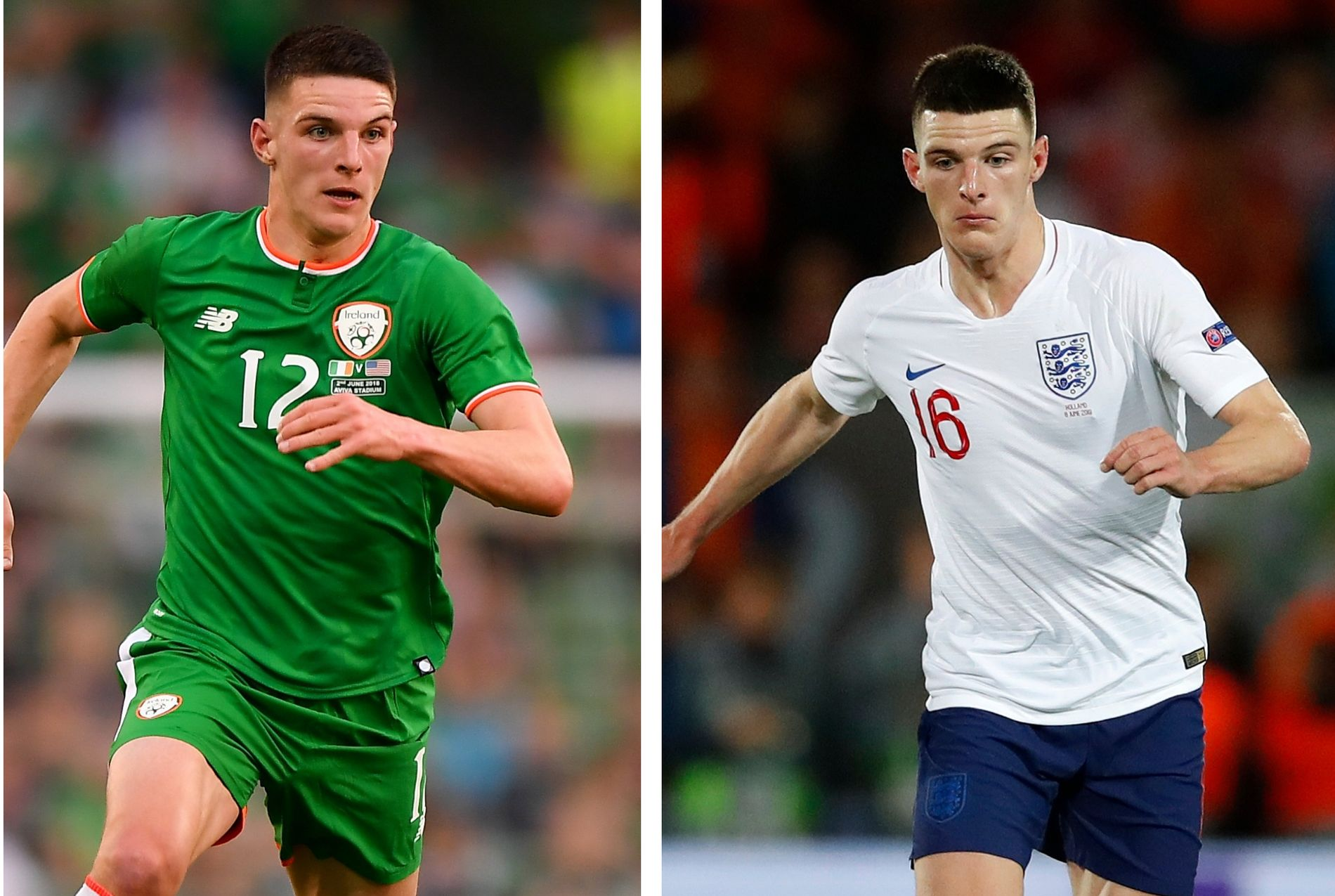 BYTTET: Declan Rice for henholdsvis Irland (t.v.) og for England (t.h.).