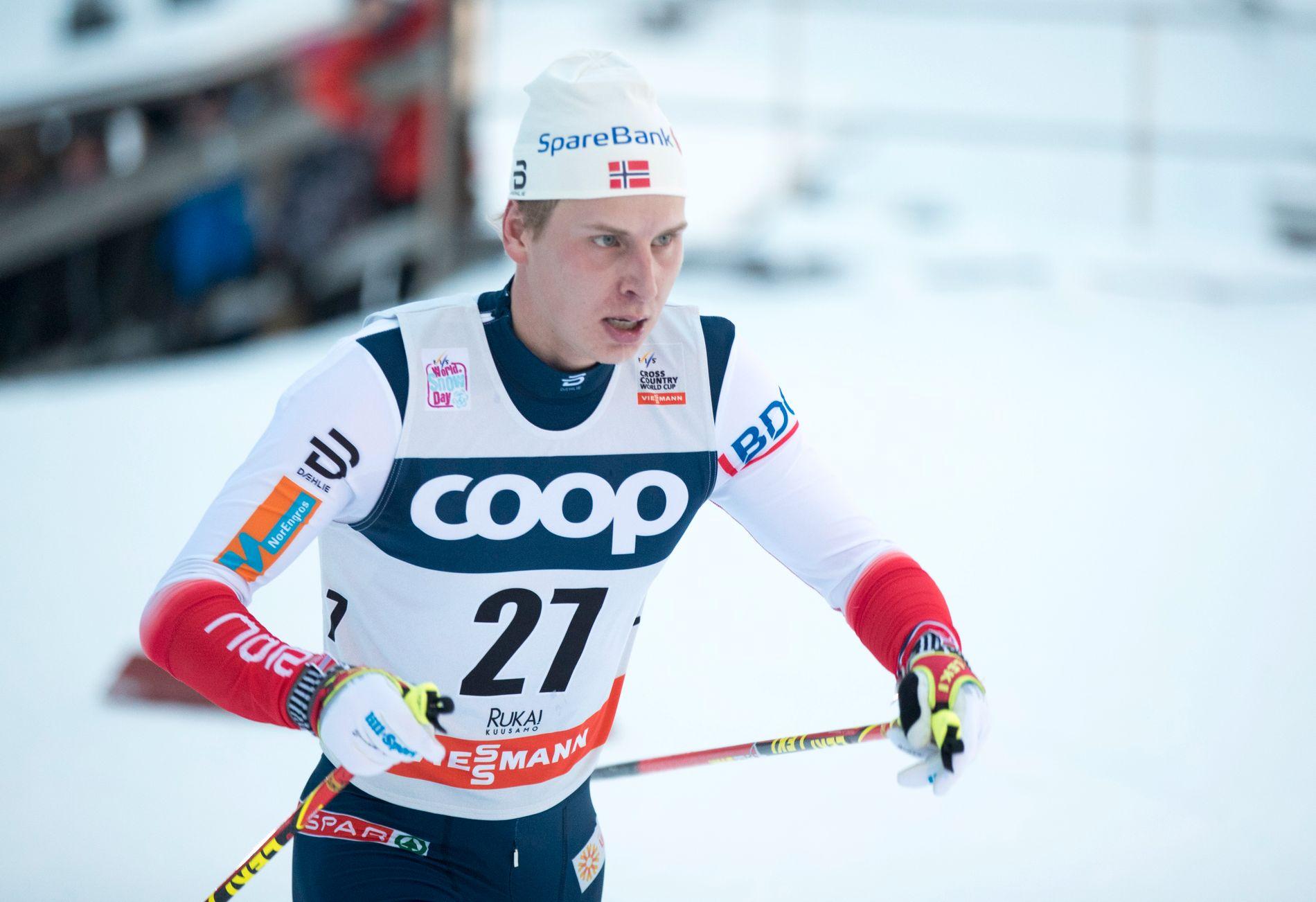 VANT: Simen Hegstad Krüger tok sin første seier i verdenscupen i Toblach på 15 kilometer fri. Her fra et løp i Ruka.