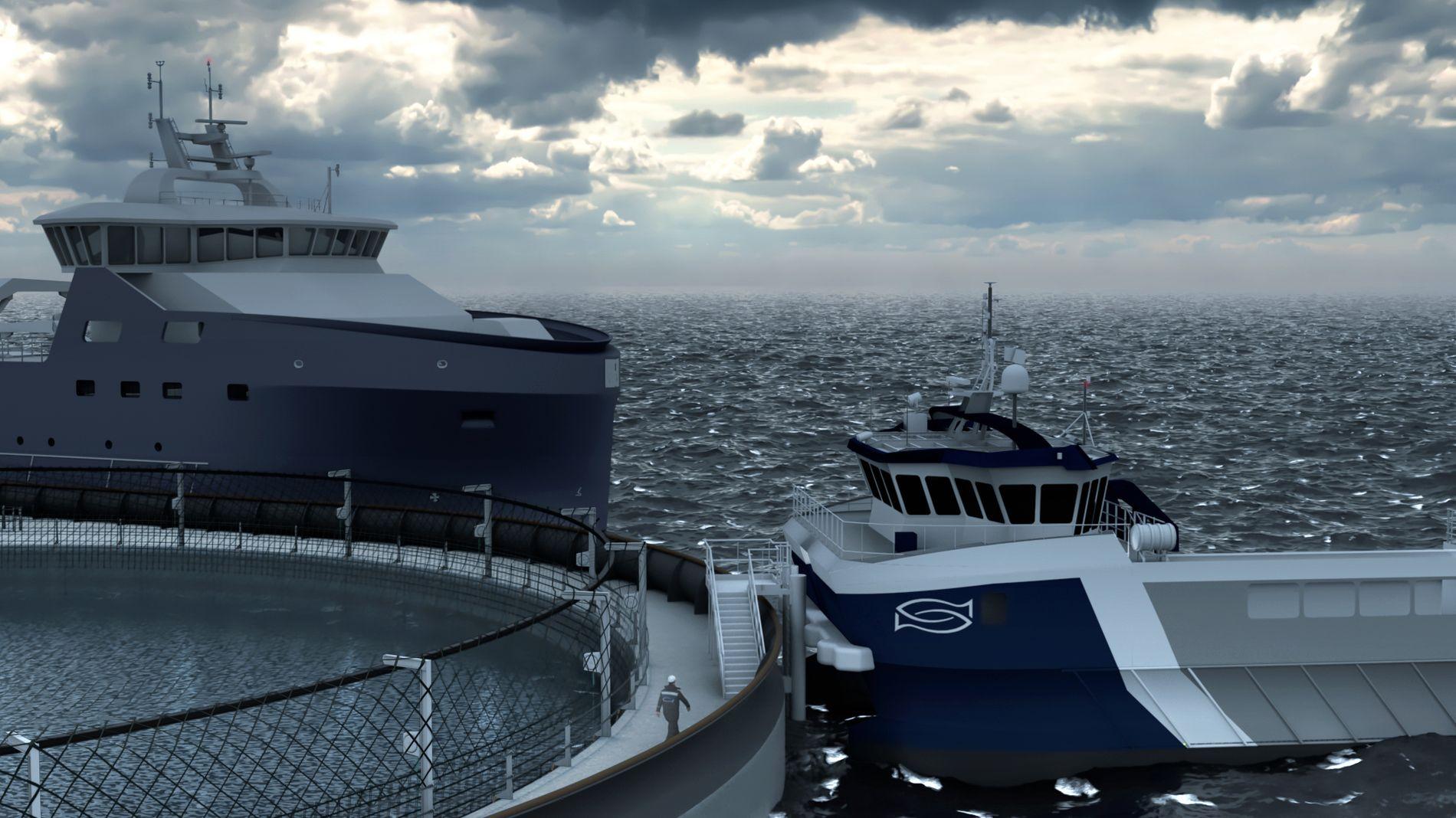 Slik vil betong-oppdrettsanlegget Øymerd til selskapet Astafjord Ocean Salmon se ut når det er ferdig. Designerne ser for seg at supplyskip kan dokke på anlegget, men det er også en helipad på anlegget.