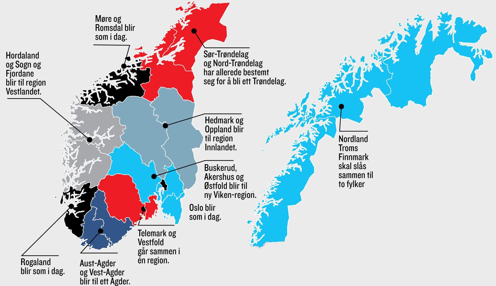NYE: Norges 19 fylker skal omorganiseres i ti nye regioner.