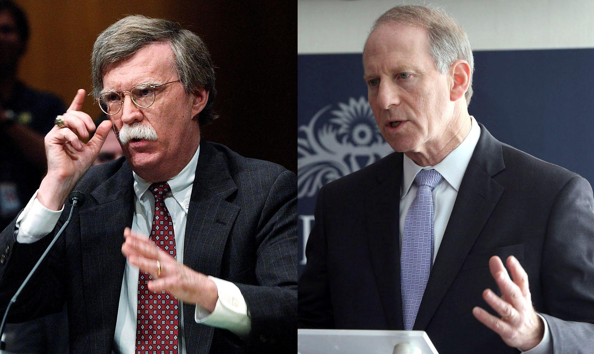 KANDIDATER: Tidligere FN-ambssadør John Bolton (67), til venstre, og Richard Haass (65) er begge nære utenrikspolitiske rådgivere for Donald Trump. En av dem kan bli utenriksminister.